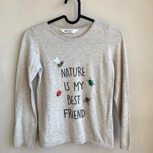 H&M nature is my best friend sweatshirt EUC